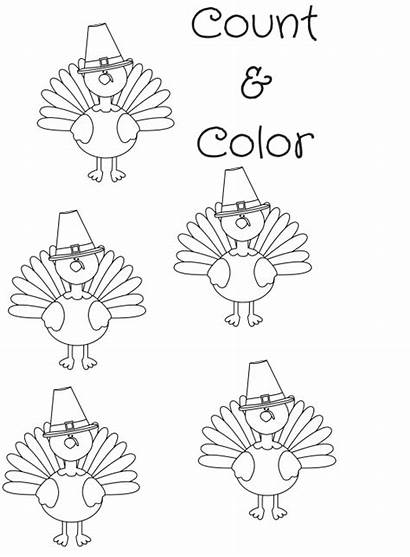 Turkey Coloring Count Pages Printable Thanksgiving Sheet