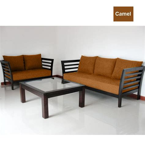 sofa set 3 teilig wooden sofa set 3 2 seater by furny sofa sets furniture pepperfry product