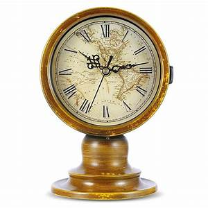 Double, Sided, European, Antique, Retro, Style, Table, Clock, With, World, Map, Classic, Metal, Quartz, Desk