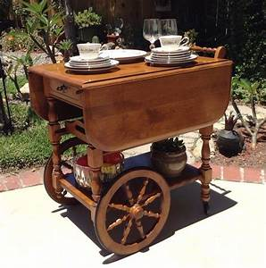 Vintage Tea Coffee Cart Microwave Wooden Kitchen Serving ...