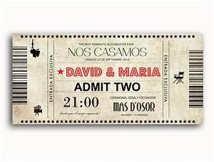 Invitación de boda entrada película Invitaciones boda originales Invitaciones de boda