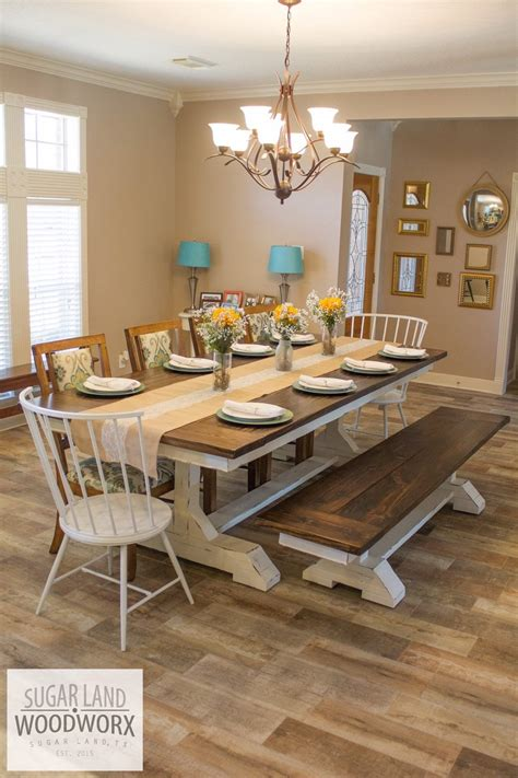 trestle farmhouse dining table  matching bench