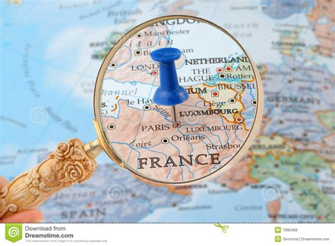 Paris Map Tack Stock Image. Image Of Maps, Geography