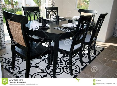 black and white dinner table setting dining set in black and white stock images image 7324344