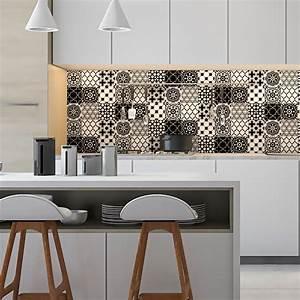 Art Et Carrelage : 9 stickers carrelages azulejos classique nuance noir et ~ Melissatoandfro.com Idées de Décoration