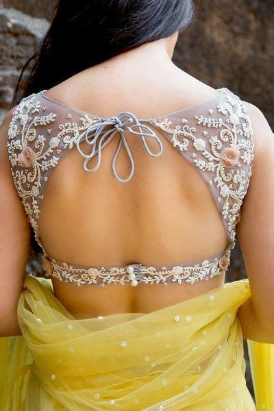 tie   neck boat cut work deep  blouse  saree