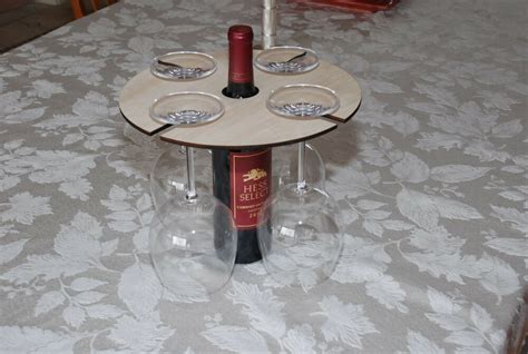 Hand Crafted Unique Wood Wine Bottle & Glass Holder Rack