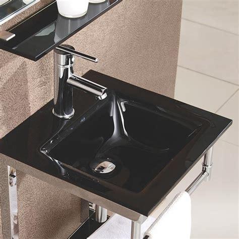 lavabo en verre noir james    cm