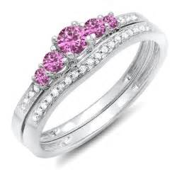 pink wedding ring set half carat pink sapphire and wedding ring set in white gold on sale jewelocean