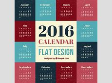 2016 Calendar flat design Vector Free Download