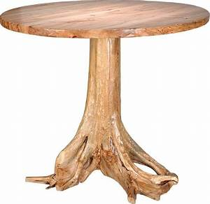 Amish Rustic Wormy Maple Pub Table with Stump Base