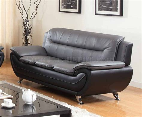 grey and black leather sofa 1074 sofa in grey black faux leather w options