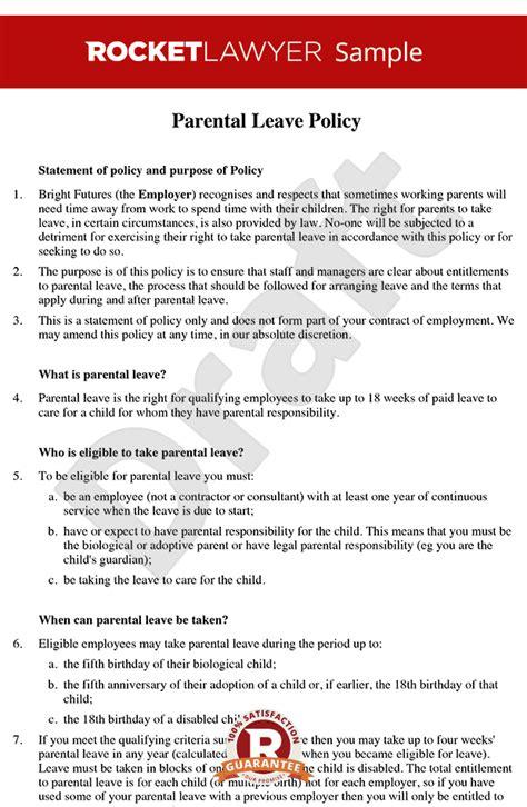 parental leave policy parental leave entitlement
