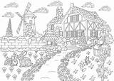 Coloring Pages Adults Adult Scenic Printable Places Travel Want Landscape 30seconds Colouring Farm Escape Antistress Zentangle Freehand Sketch Drawing Tip sketch template
