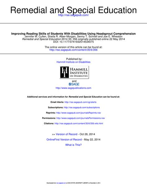 (pdf) Improving Reading Skills Of Students With Disabilities Using Headsprout Comprehension