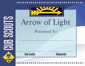 free printable arrow of light certificate template cub With cub scout certificate templates