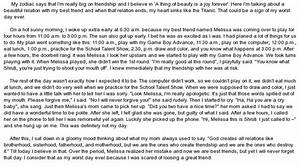 Narrative essay on the worst day of my life