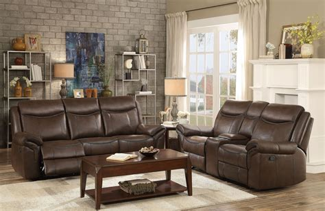 double sofas in living room aram dark brown double reclining living room set from