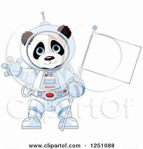 Clipart of a Cute Panda Astronaut Holding a Flag and ...