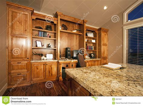 spacious home office cabinets stock image image