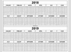 20182019 Yearly Calendar Template Printable Monthly