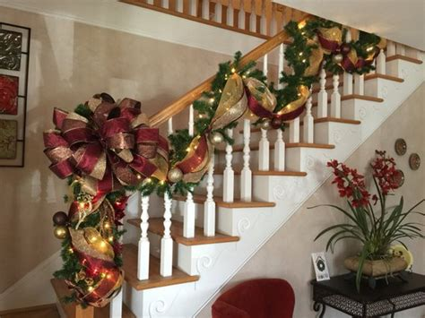 lighted garland for staircase stairway garland post swagshipping included 7022