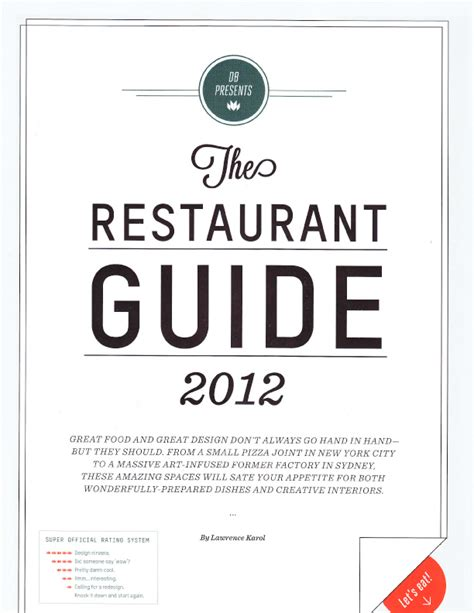 resto bureau karol design bureau july august 2012 the restaurant guide 2012