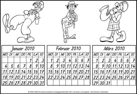 Quartalskalender für das Jahr 2010 zum Ausmalen