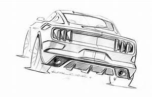 Ford Mustang Design Sketch by Kemal Curic   Mustang drawing, Car sketch, Car artwork