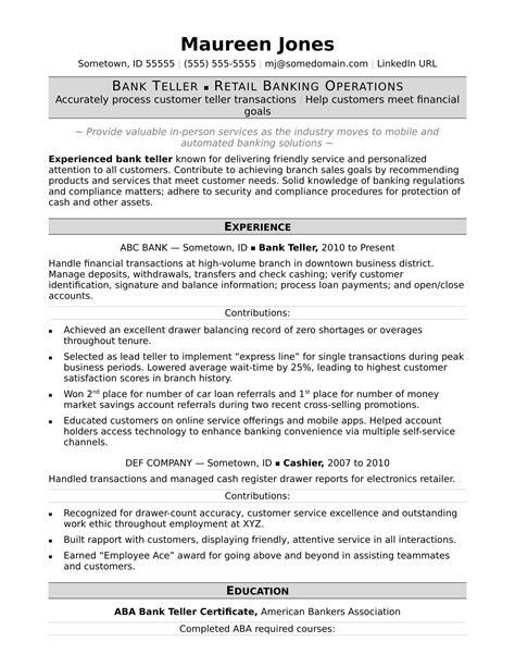 Bank Teller Resume by Resume Exles Bank Teller Resume Exles