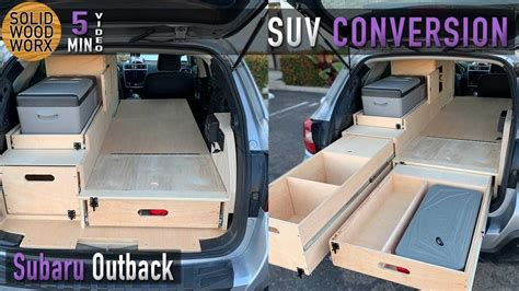 lady turns subaru outback  fully contained camper