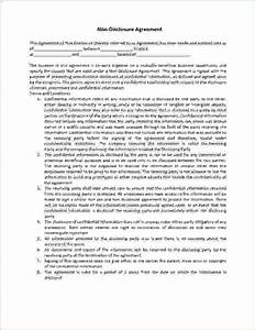 4 non disclosure agreement template wordreport template for Nda template word document
