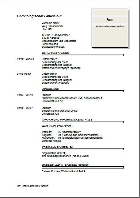 modelo de curriculum vitae cronologico en aleman joblers