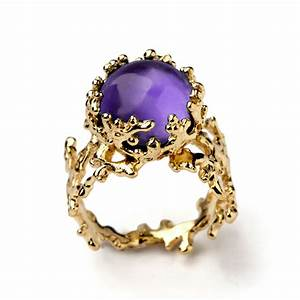 CORAL Yellow Gold Amethyst Ring Purple Amethyst Ring Large