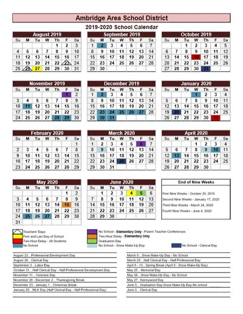 ambridge area school district calendar