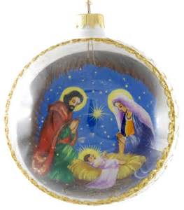 quot mary joseph and baby jesus quot reverse hand painted glass christmas ball craftsman christmas