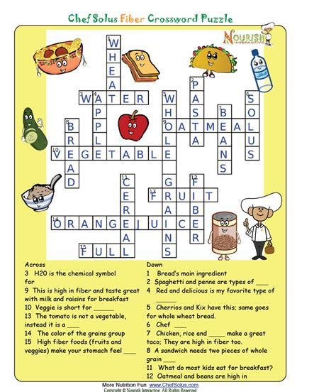 puzzle cuisine nutrition crossword puzzle answers nutrition ftempo
