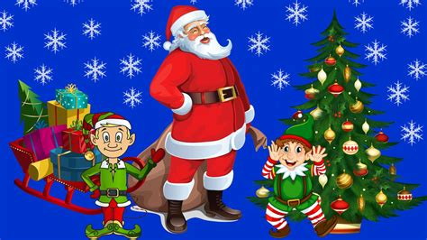 Santa Claus Animated Wallpaper - tree hanging out with santa claus gifts