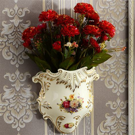 yolife vintage ceramic wall vase flower hanging vase