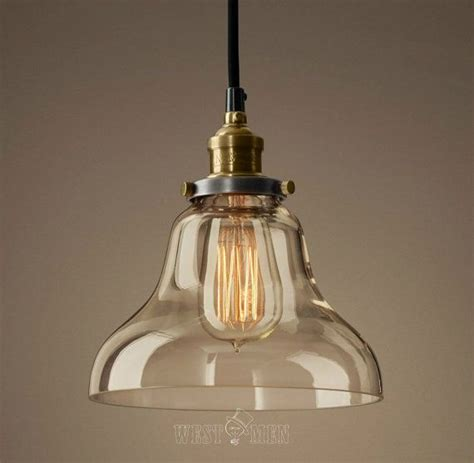 glass bell shade hanging l pendant l vintage rustic