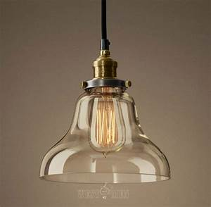 Glass bell shade hanging lamp pendant vintage rustic