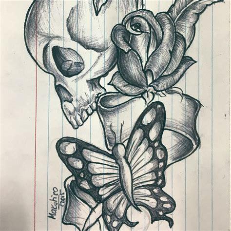 Skull Roses Drawing Getdrawings Free For