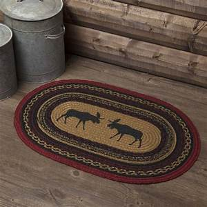Almond, Tan, Rustic, Flooring, Shasta, Cabin, Moose, Jute, Stenciled, Nature, Print, Oval, Accent, Rug