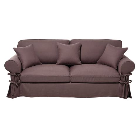 butterfly sofa 3 4 seater linen sofa bed in mauve butterfly maisons du monde