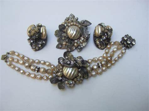 1950s Costume Pearl Brooch, Bracelet And Earrings By