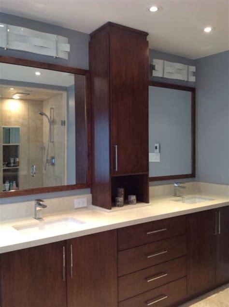 custom vanity  linen tower  quartz countertop