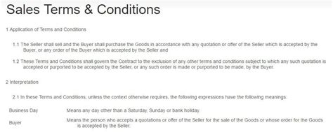Payment Terms In Terms & Conditions