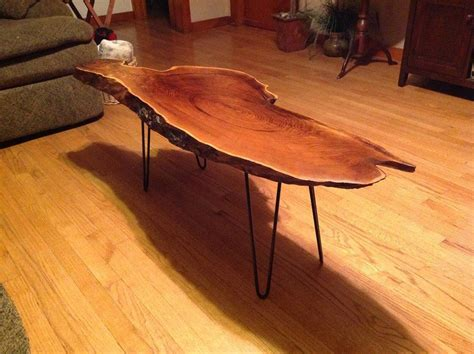 The wood on a diagonal is so creative and different, it looks amazing! black walnut slab coffee table hairpin legs 4 | Coffee ...