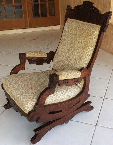 original antique eastlake rocking chair carved walnut