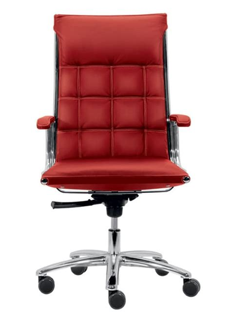 office chair with seat and backrest padded with leather